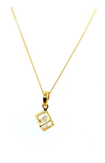 Collar Dije Cub Con Cristal Chapa De Oro Regalo 22k Vogary