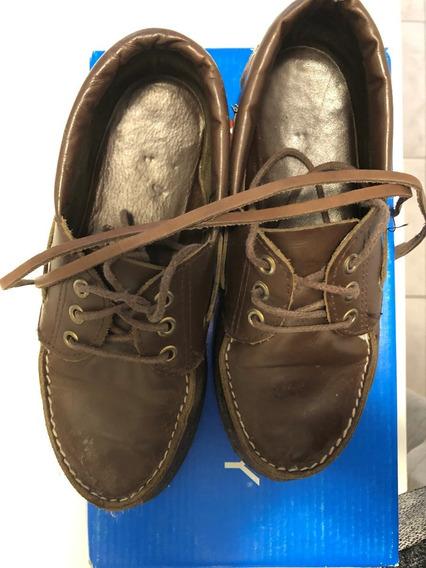 Zapatos Escolares De Cuero Marron Niño/niña