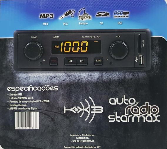 Rádio Mp3 Player Automotivo Am Fm Usb Sd/mmc Card Digital
