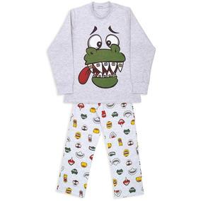 6f28b30084 Pijama Infantil Dedeka Flanelado Dinossauro Sorridente
