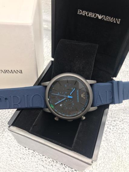 Relógio Kk12 Linha Sport Empório Armani Ar Azul Borracha