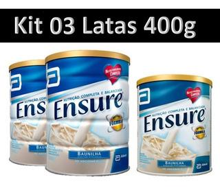 Leite Ensure 400g (kit Com 3 Latas) Baunilha