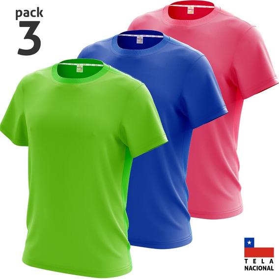 Pack 3 Poleras Deportiva Dry Fit Antitranspirante 34 Colores