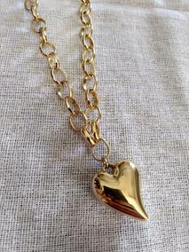 Colar Foleado A Ouro Com Pingente De Coração