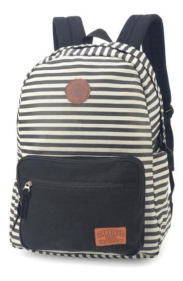 Mochila Escolar Feminina Notebook Garfield Listras Mj48520gf Luxcel