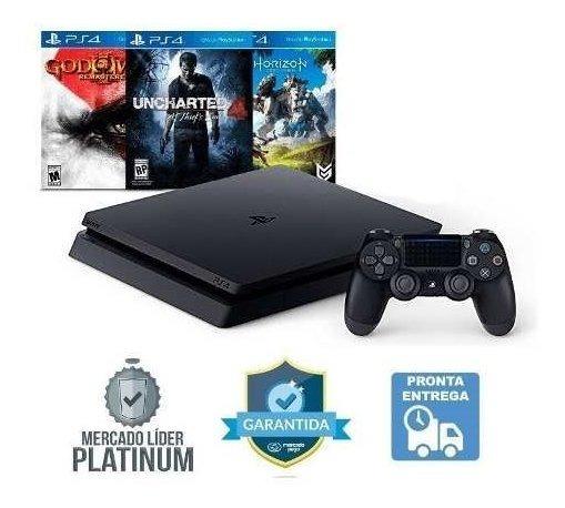 Console Ps4 Playstation 4 500gb Slim + 3 Jogos Nf-e Cuh2015a
