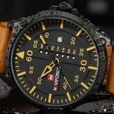 Naviforce 9074 Reloj Lujo Hombre Correa Cuero Cafe