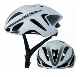 Capacete Tsw Team Plus 57-61 Branco Bike Bicicleta Speed