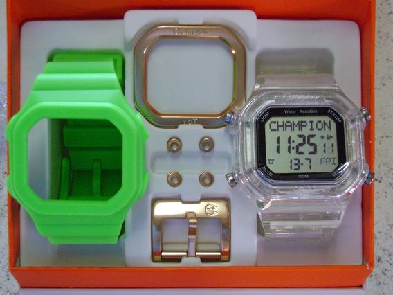 Relógio Champion Yot Original Cp40180x Nf Verde Neon Transp
