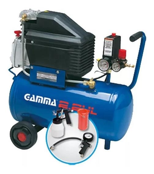 Compresor Gamma G2801k | 2hp | 24lts + Pistola Pintar + Kit