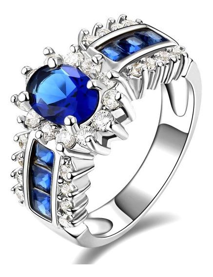 Anel Feminino Formatura Pedra Curso Safira Azul 224