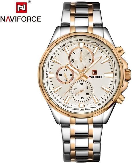 Relógio Masculino Luxo Nf9089 Naviforce Original Em Aço Inox