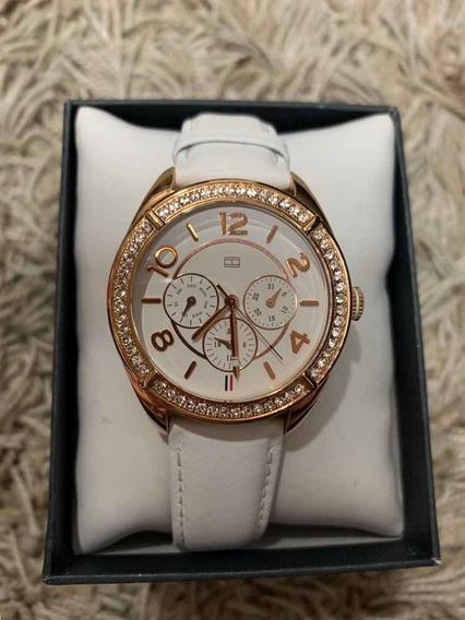 Relógio Tommy Hilfiger Strass Branco Original Gold Dourado