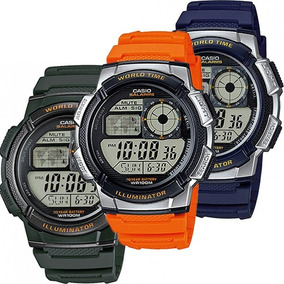 Reloj Casio Ae1000 Naranja Mapa Mundial 5 Alarmas Crono Luz