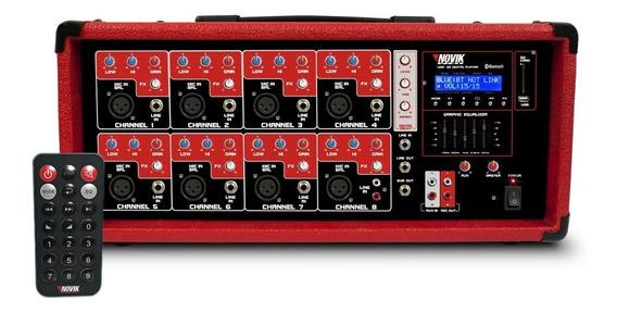 Mixer Amplificador Cabecote Novik 8 Canais 250 Rms Nvk8500bt