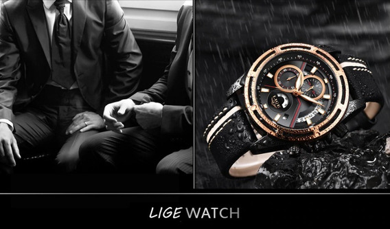 Relógio Lige Original Couro Luxo Frete Grátis!!