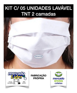 Kit 05 Máscara Dupla Protecao Tnt 2 Camadas Lavável + Brinde