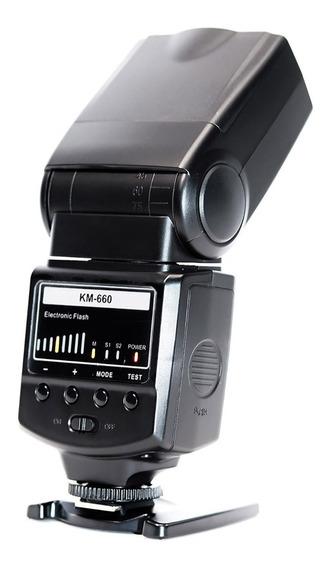 Flash Speedlite Km-660 Gn38 P/ Canon Sony Nikon Universal Nf