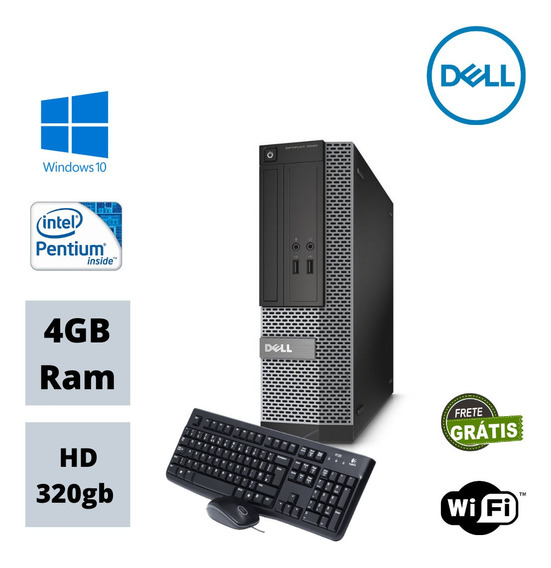 Pc Dell Pentium Dual Core 3.2 Ghz 4gb Hd 320g Win10 Wi-fi