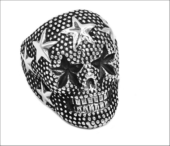Anel Caveira Skull Estrelas Unissex Aço Inoxidável Importado