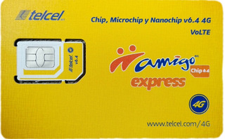 Chips Telcel Express, Lote 50, Región 8, 3 En 1,