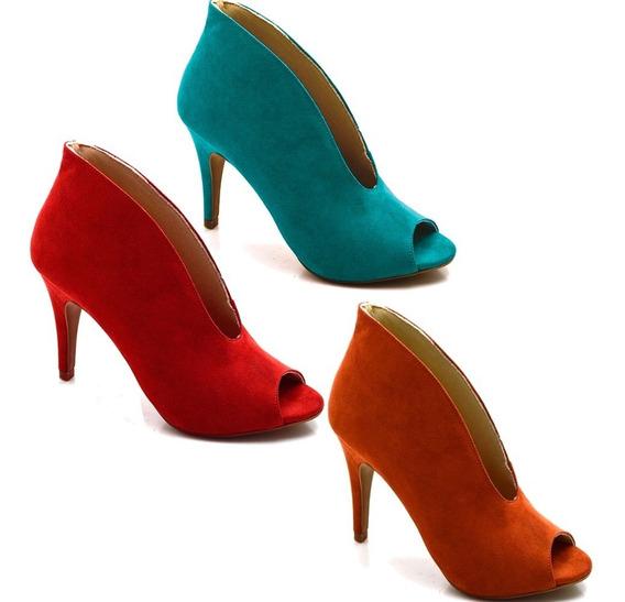 Scarpin Sapato Fechado Abotinado Salto Alto Fino Cores