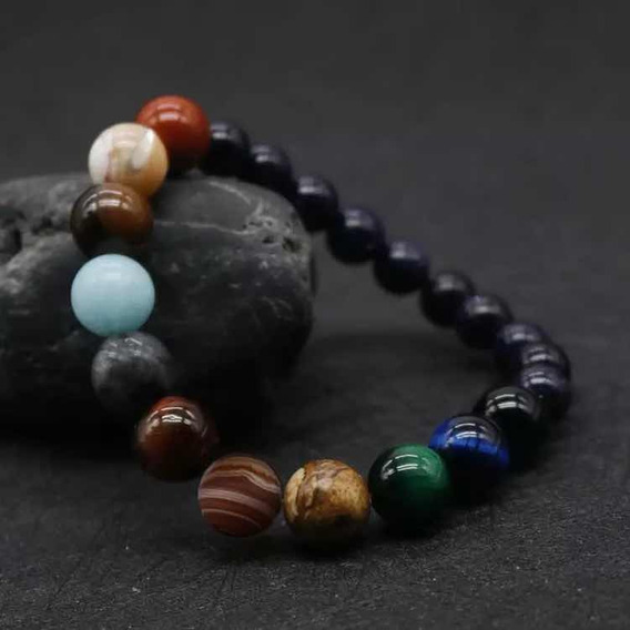 Pulsera Mujer Hombre Sistema Solar Natural Stones Buda Reiki