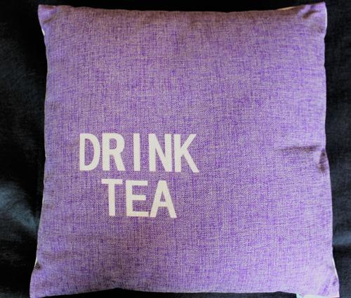 Imagen 1 de 3 de Cojín Decorativo Algodón/poliéster 45x45 Modelo Drink Tea