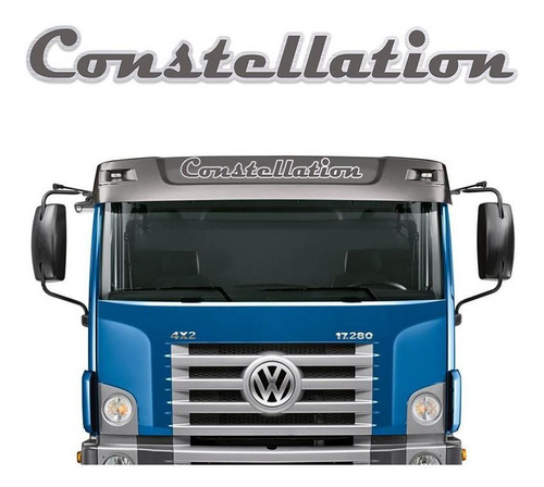 Imagem 1 de 5 de Emblema Adesivo Volks Constellation Aço Escovado Quebra-sol