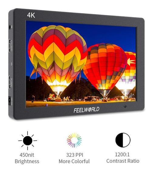 Monitor Feelworld T7 4k + Case Bateria Ips Gh4 Sony Carregdo