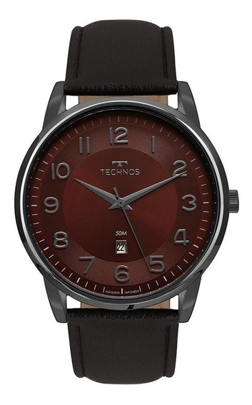 Relógio Masculino Technos Preto Com Couro Preto 2117lbg/2n