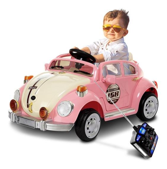 Carrinho Elétrico Infantil Fusca Rosa Controle Mp3 6v 2p
