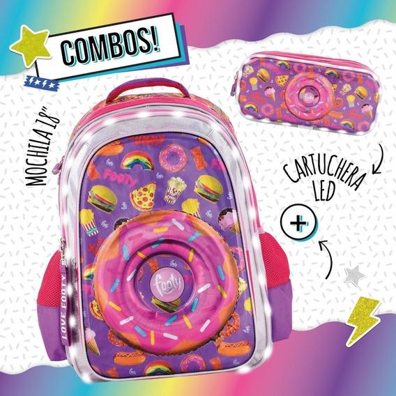 Combo Mochila Footy Luz Carro 18 Dona Lila + Cart. 2 Cierr