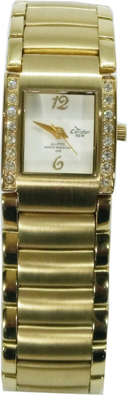 Relógio Condor Feminino Dourado Quadrado + Brinde