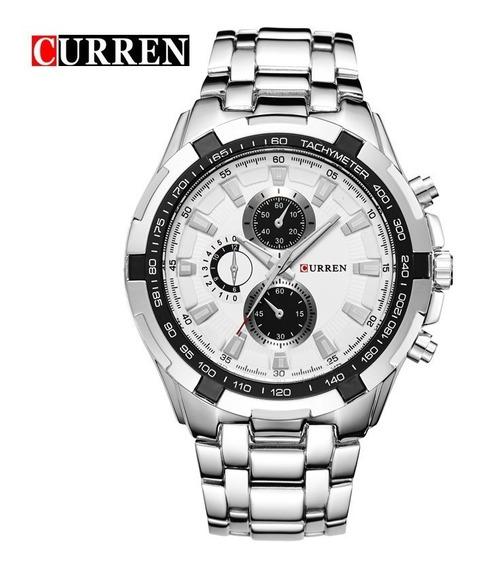 Relógio Inox Fundo Branco Pronta Entrega Curren W019