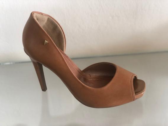 Sapato Peep Toe Ramarim 1647201 Preto Caramelo Salto Alto