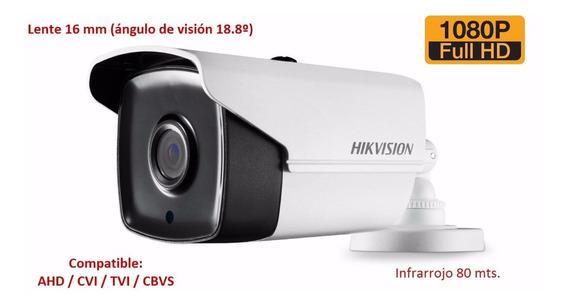 Cámara Hikvision Metálico 1080p Mp Exterior Lente Largo 80m