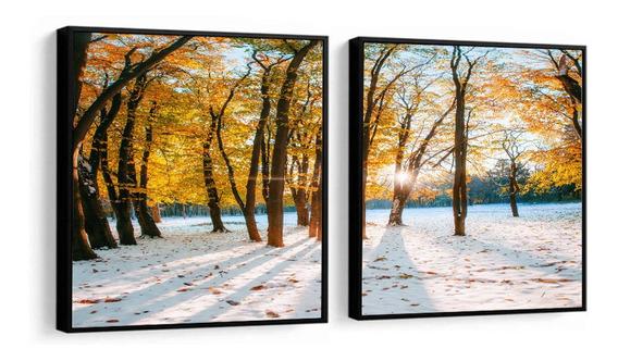 Quadro Decorativo Paisagem Árvores Amarelas Neve Decor Peças