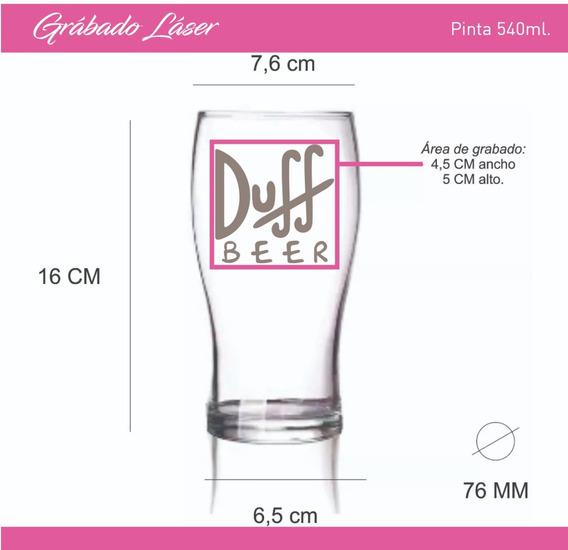 Vasos Vidrio Cervezero Pinta 540ml Personalizado Grabado X1u