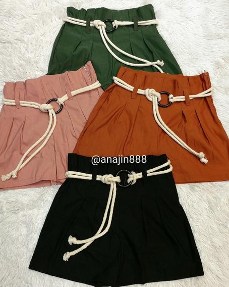 Short Cintura Alta Bengaline Shortinho Laço Roupas Feminino