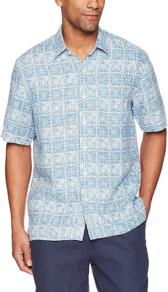 Camisa Lino Hombre Hawaiana Manga Corta Estampada Fresca
