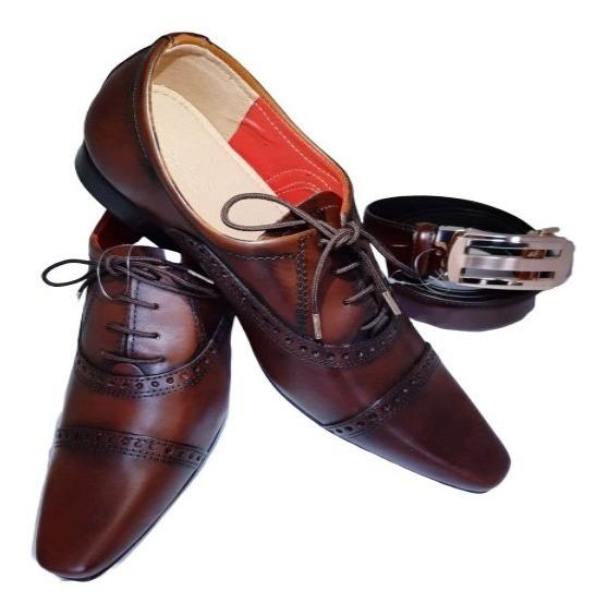 Sapato Social Marrom Detalhado Fosco+ Cinto