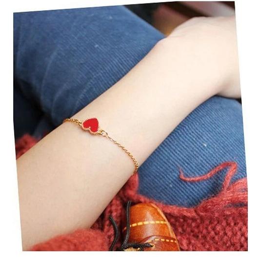 Pulsera Corazón Rojo Moda Mujer Tendencia Msi