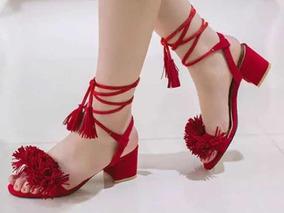 Sandalia Usada Pompom Vermelha Salto Baixo Amarração Amarrar