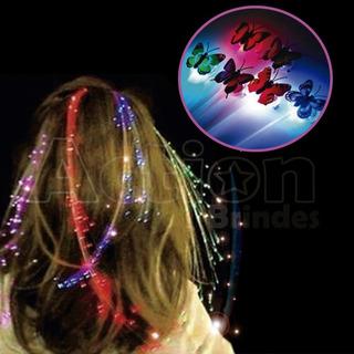 Presilha Luminosa Trança Led Com Fibra Óptica Kit 10 Un