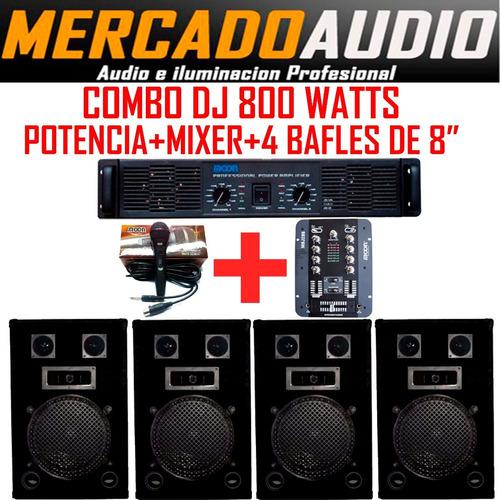 Imagen 1 de 6 de Combo Mini Dj  Potencia+mixer+4 Bafles 8 PuLG  + Micrófono