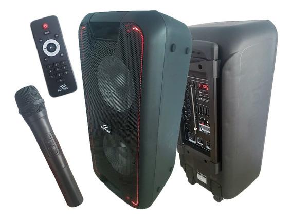 Caixa Som Amplificada 600w C/bluetooth Mic Sem Fio E Bateria