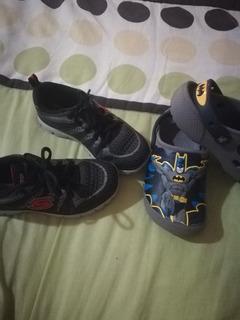 Lote Niño Tenis Skechers Y Crocs Batman Originales
