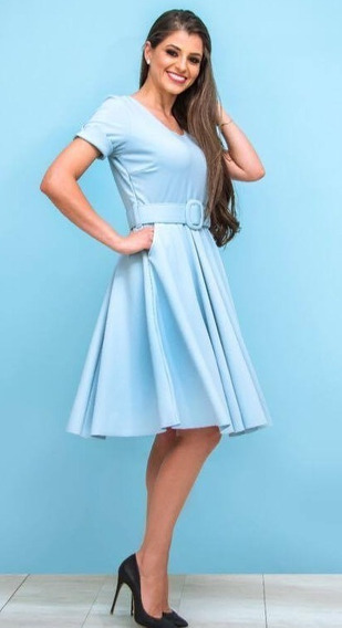Vestido Azul Claro Com Cinto Gioconda Portto Tam G