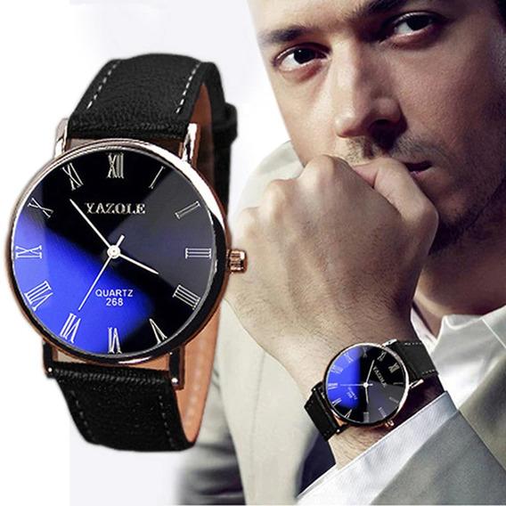 Kit 3, Relógio Masculino Casual Pulseira Couro Preta, Yazole